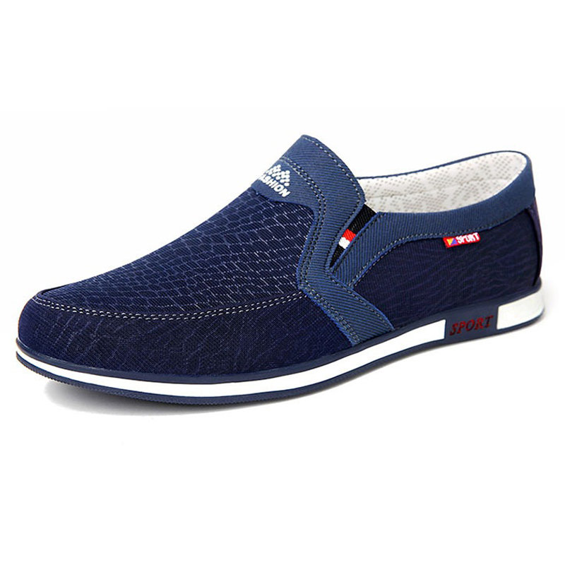 Men Old Peking Canvas Breathable Slip Resistant Slip On Casual Shoes