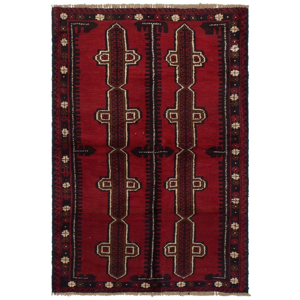 ECARPETGALLERY Hand-knotted Teimani Red Wool Rug - 3'8 x 6'0 (Red - 3'8 x 6'0)