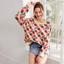 Letter & Strawberry Pattern Oversized Sweater