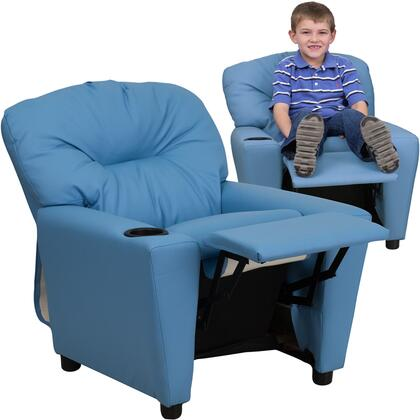 BT7950 Collection BT-7950-KID-LTBLUE-GG Kids Recliner with Cup Holder Armrest  Solid Hardwood Frame Construction  Contemporary Style and Vinyl