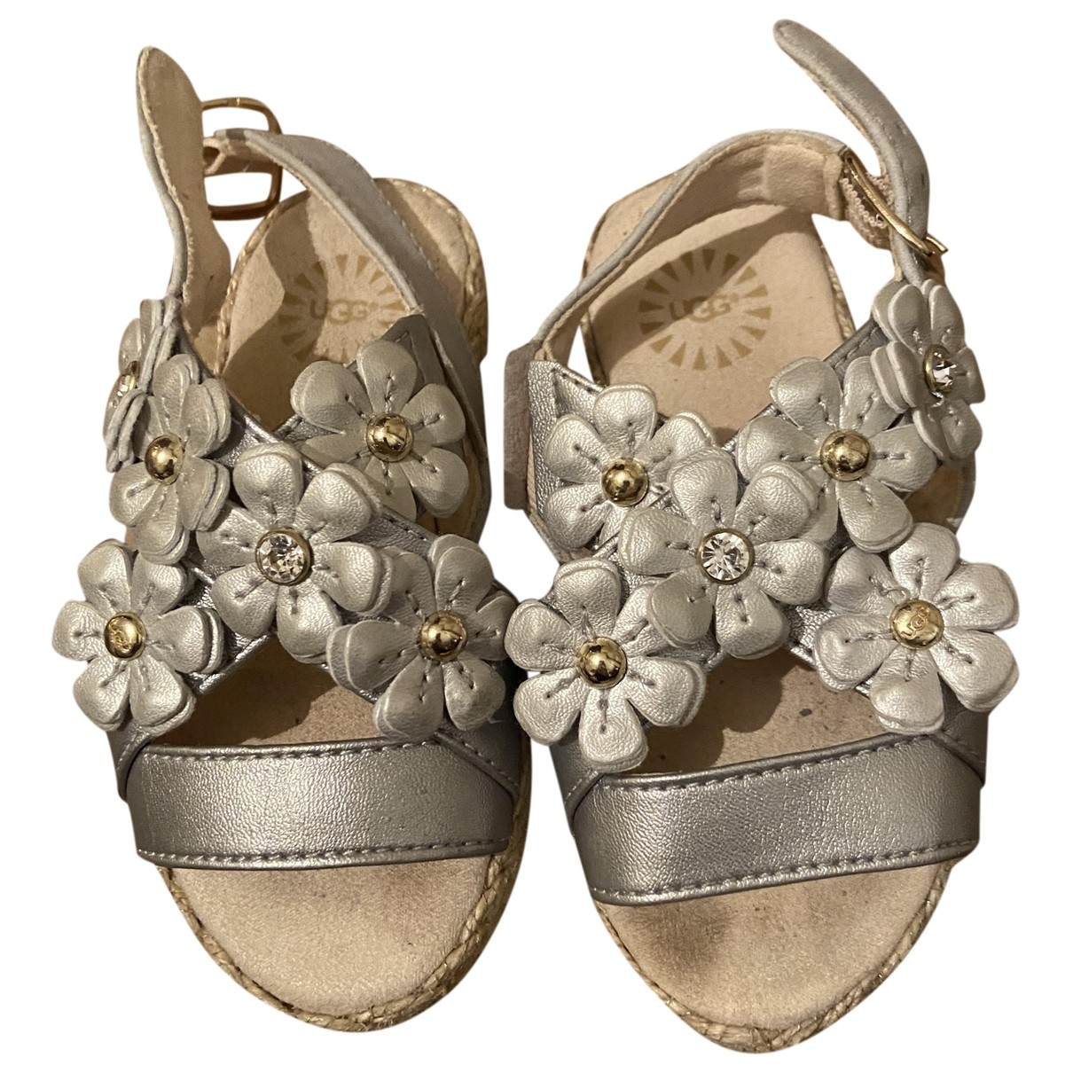 Ugg \N Silver Leather Sandals for Kids 23 EU
