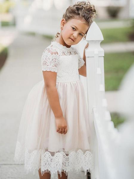 Milanoo Vestidos de niña de las flores Cuello joya Mangas cortas Vestidos de fiesta para niños