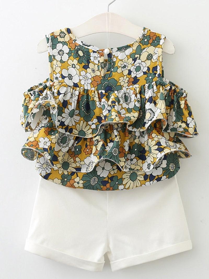 Ericdress Ruffles Floral Print Girl's Sleeveless Summer Outfits