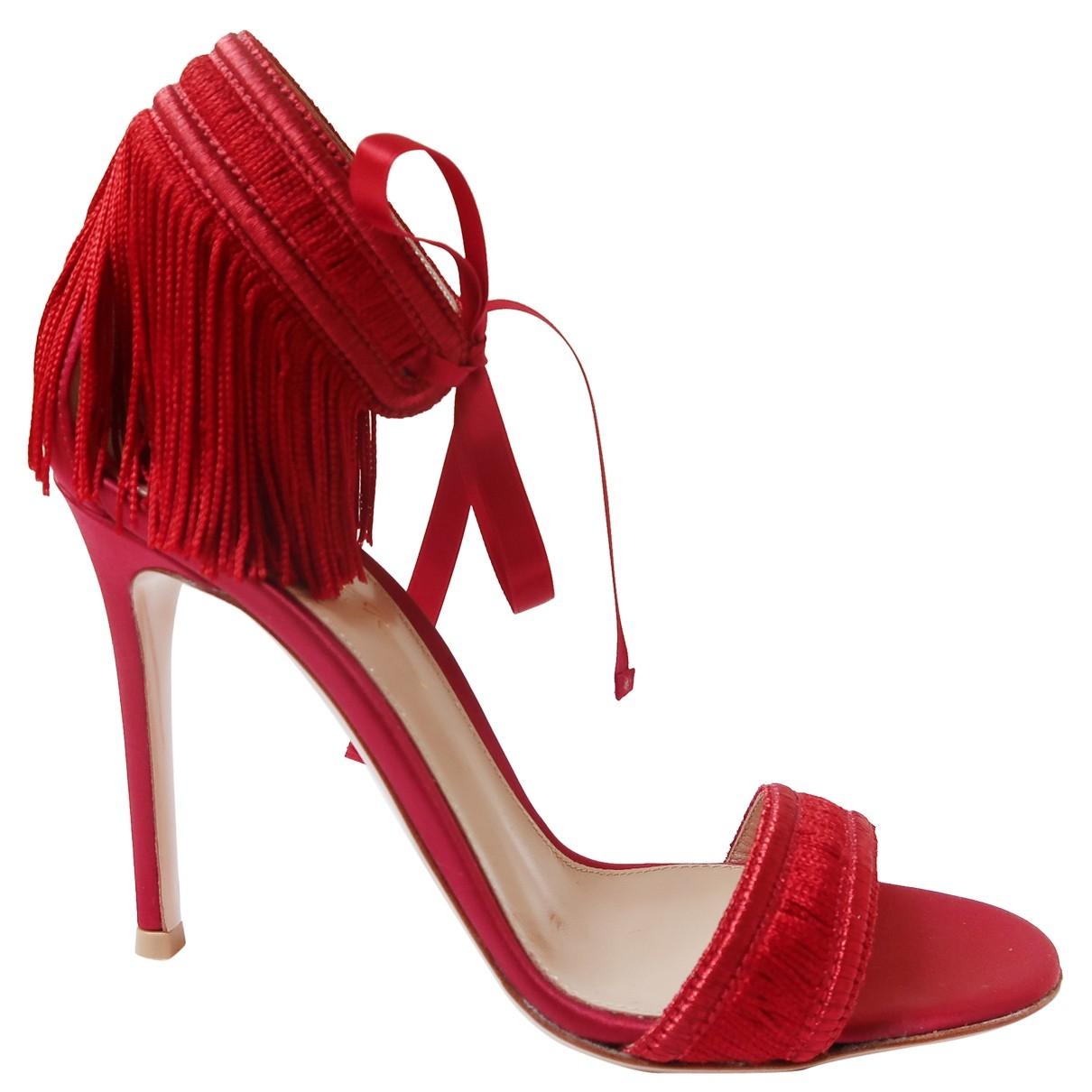 Gianvito Rossi Portofino Red Cloth Sandals for Women 35.5 IT