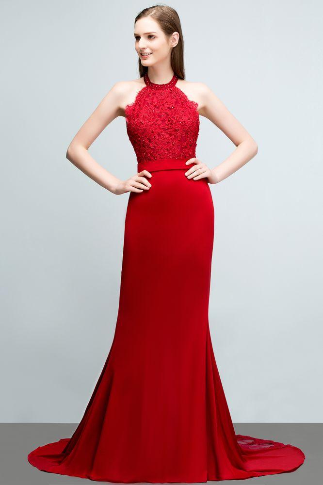 JOY | Mermaid Halter Floor Length Appliqued Beads Red Prom Dresses with Sash