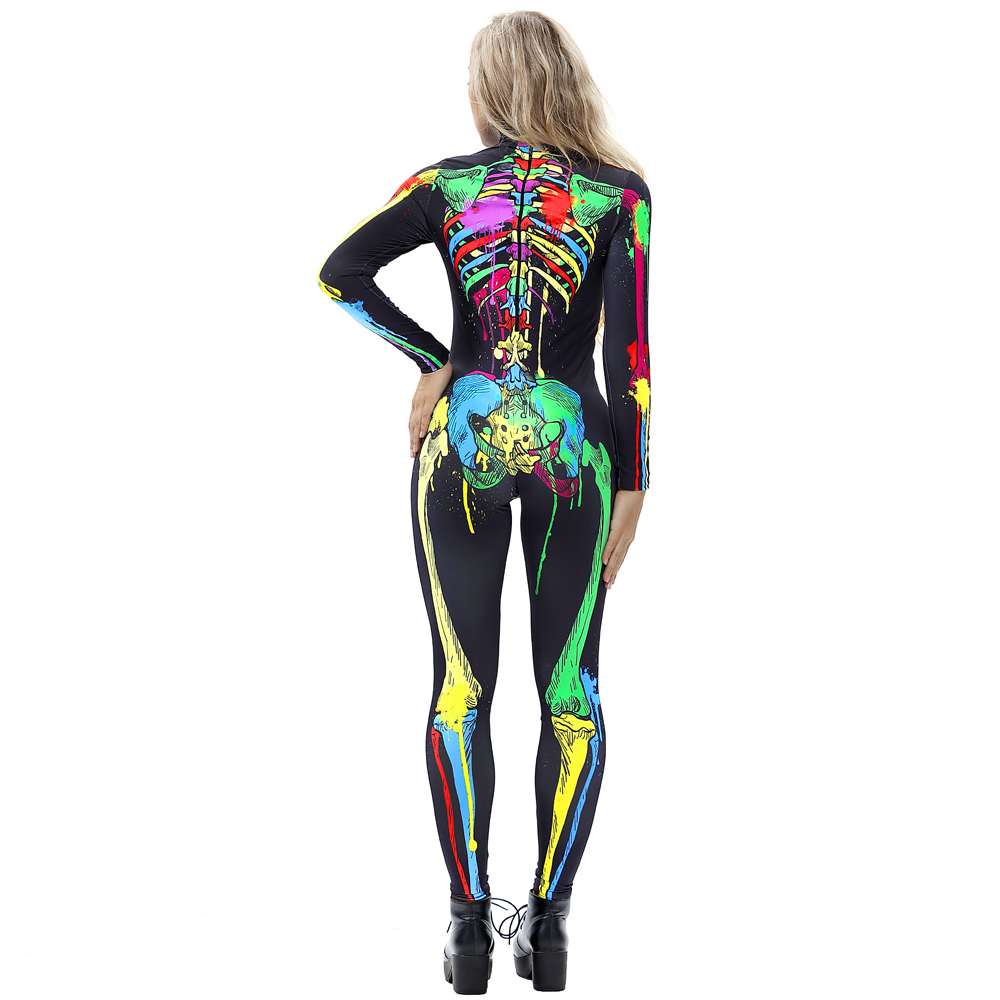 Skinny Halloween Cosplay Costume 3D Style Bodycon Jumpsuit
