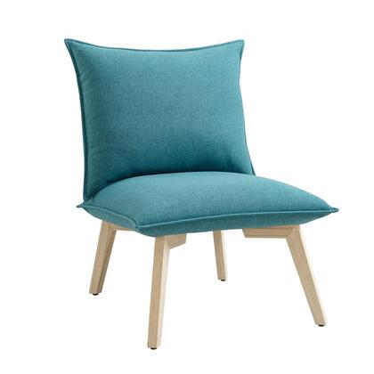 BM197286 Fabric Upholstered Pillow Chair with Wooden Angled Legs Blue and