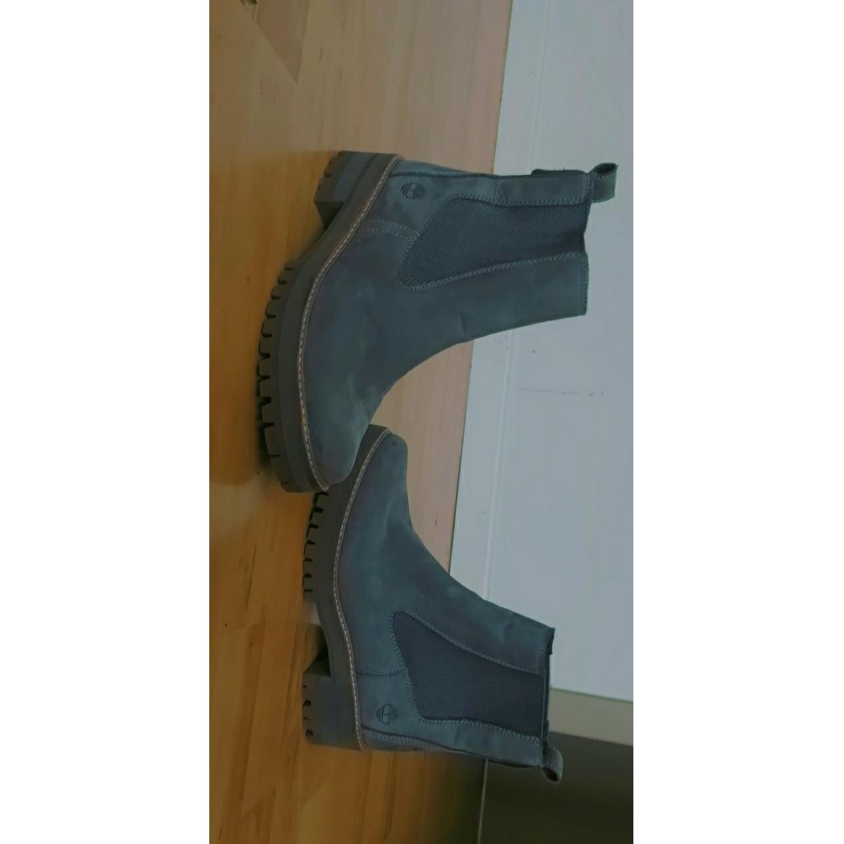 Timberland - Bottes   pour femme en cuir - gris