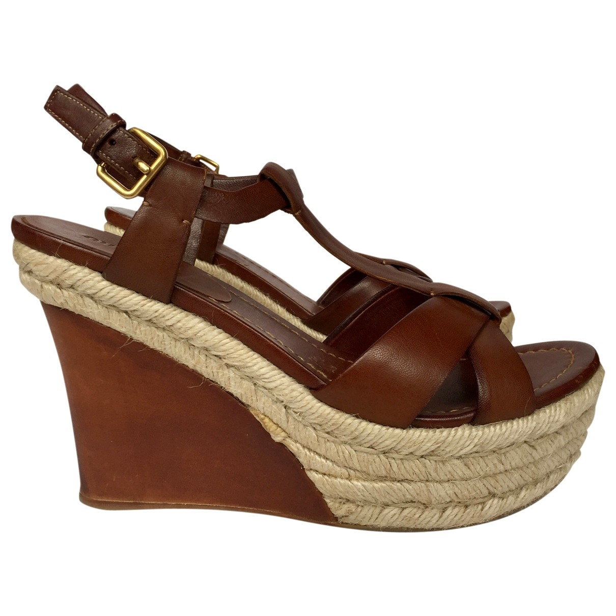 Miu Miu \N Brown Leather Sandals for Women 38.5 IT