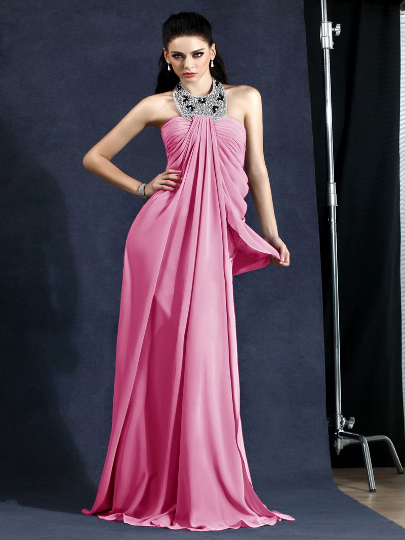 Elegant A-Line Halter Draped Floor-Length Polinas Evening Dress