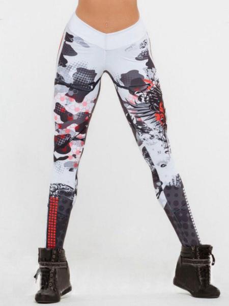 Milanoo Women Gym Leggings Printed High Waist Skinny Leggings