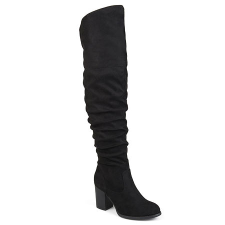 Journee Collection Womens Kaison-Xwc Dress Boots Stacked Heel, 8 Medium, Black