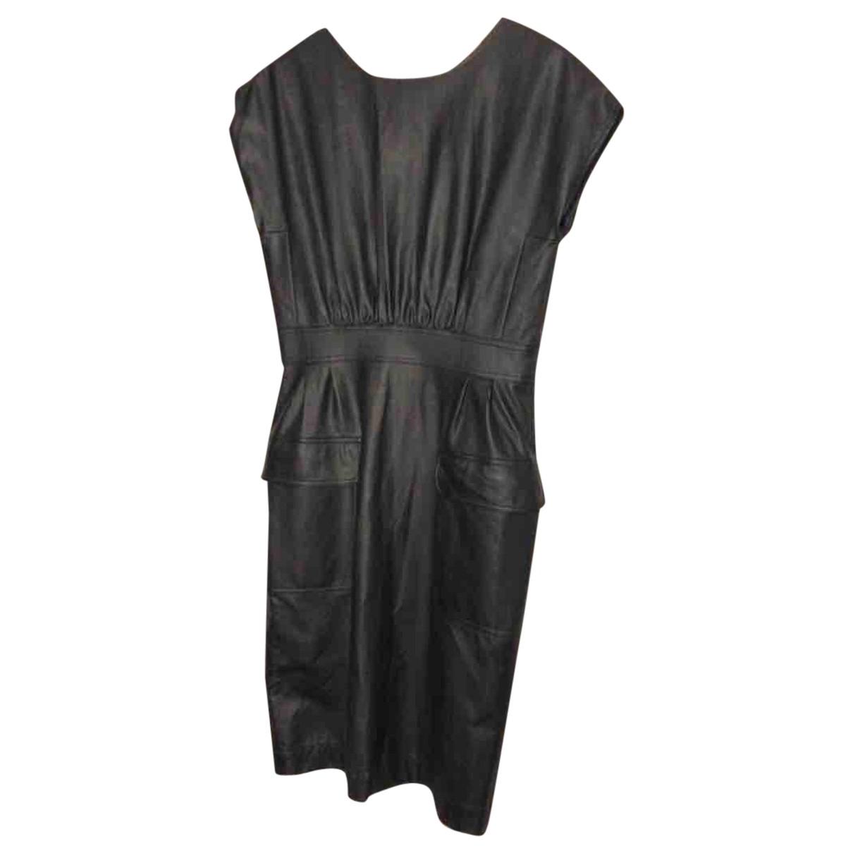 Karl Lagerfeld N Black Leather dress for Women 38 FR