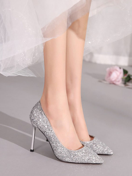 Milanoo High Heel Party Shoes Red Pointed Toe Sequined Cloth Evening Shoes