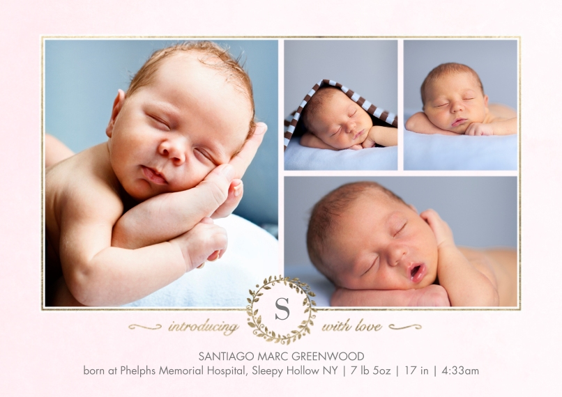 Baby Announcements 5x7 Cards, Premium Cardstock 120lb, Card & Stationery -Baby Monogram Gold by Tumbalina