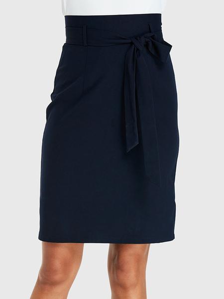 YOINS Navy Self-tie Design Bodycon Skirt