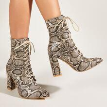 Stiefel mit Schlangenleder Muster und Band