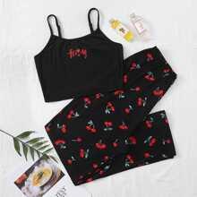 Cami Schlafanzug Set mit Kirsche und Buchstaben Grafik