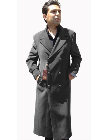 Mens Top Coat Buttons Closure Double Breasted Overcoat Charcoal Grey