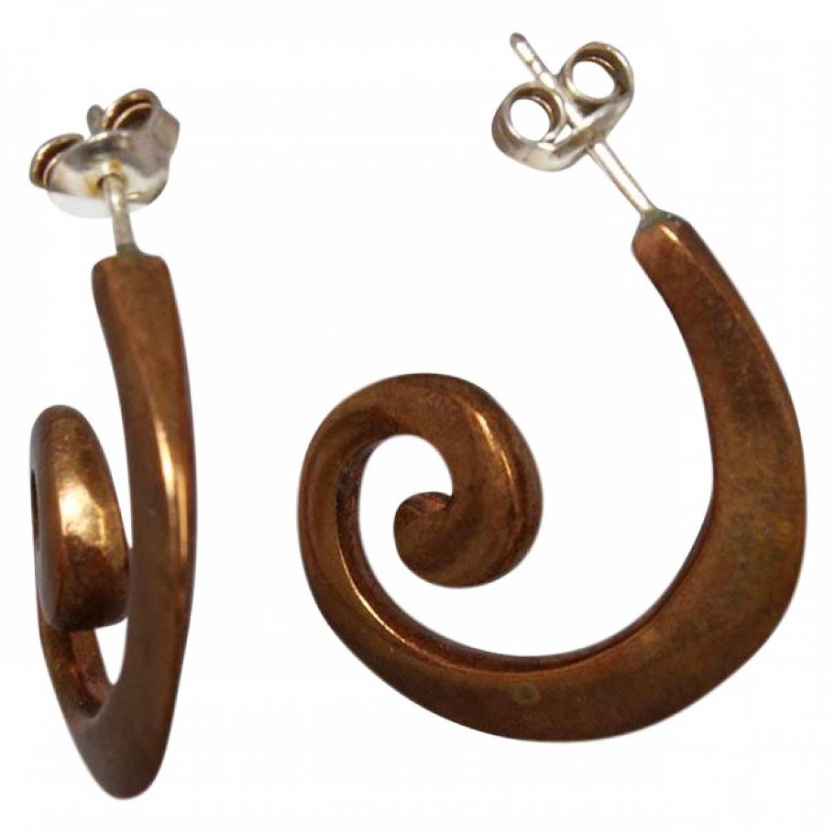 - Boucles doreilles   pour femme en metal - marron