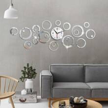 1 set reloj de pared con espejo circular