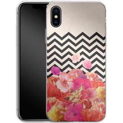 Apple iPhone X Silikon Handyhuelle - Chevron Flora II von Bianca Green