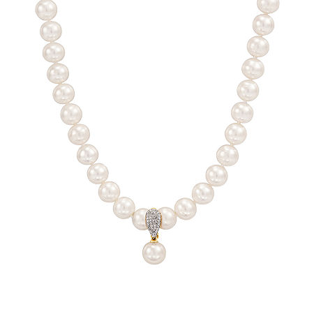 Womens 1 CT. T.W. 8MM Dyed White Cultured Freshwater Pearl 14K Gold Strand Necklace, One Size , No Color Family