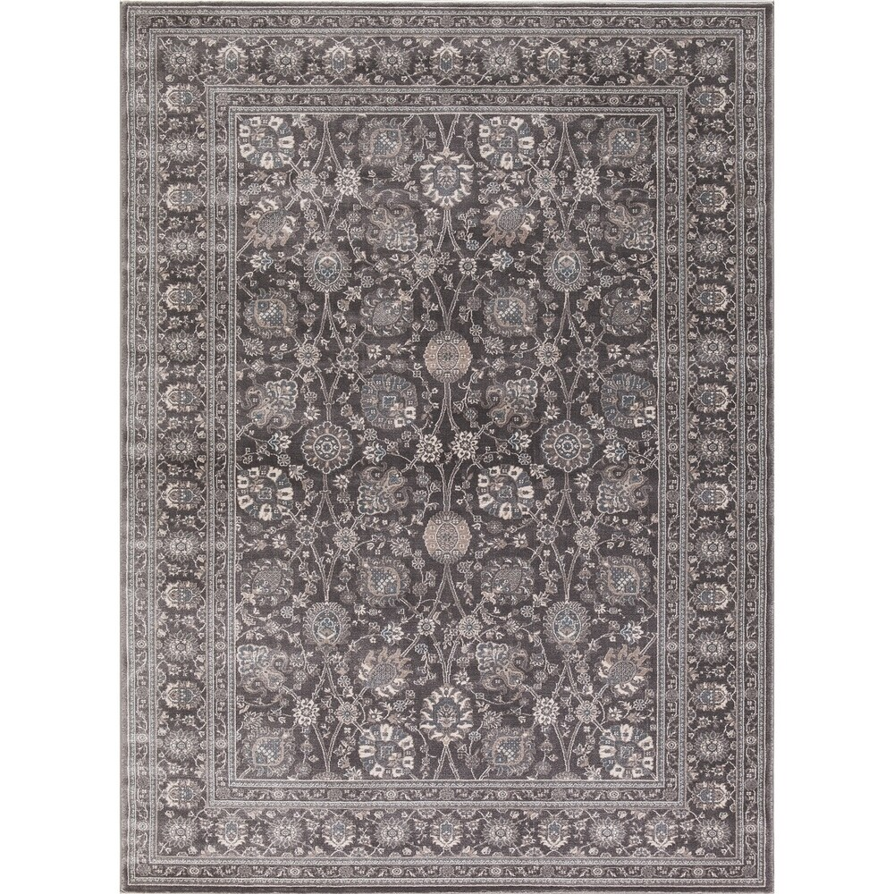 Concord Global Kashan Tabriz Area Rug (Ivory/Grey 2' x 7'3
