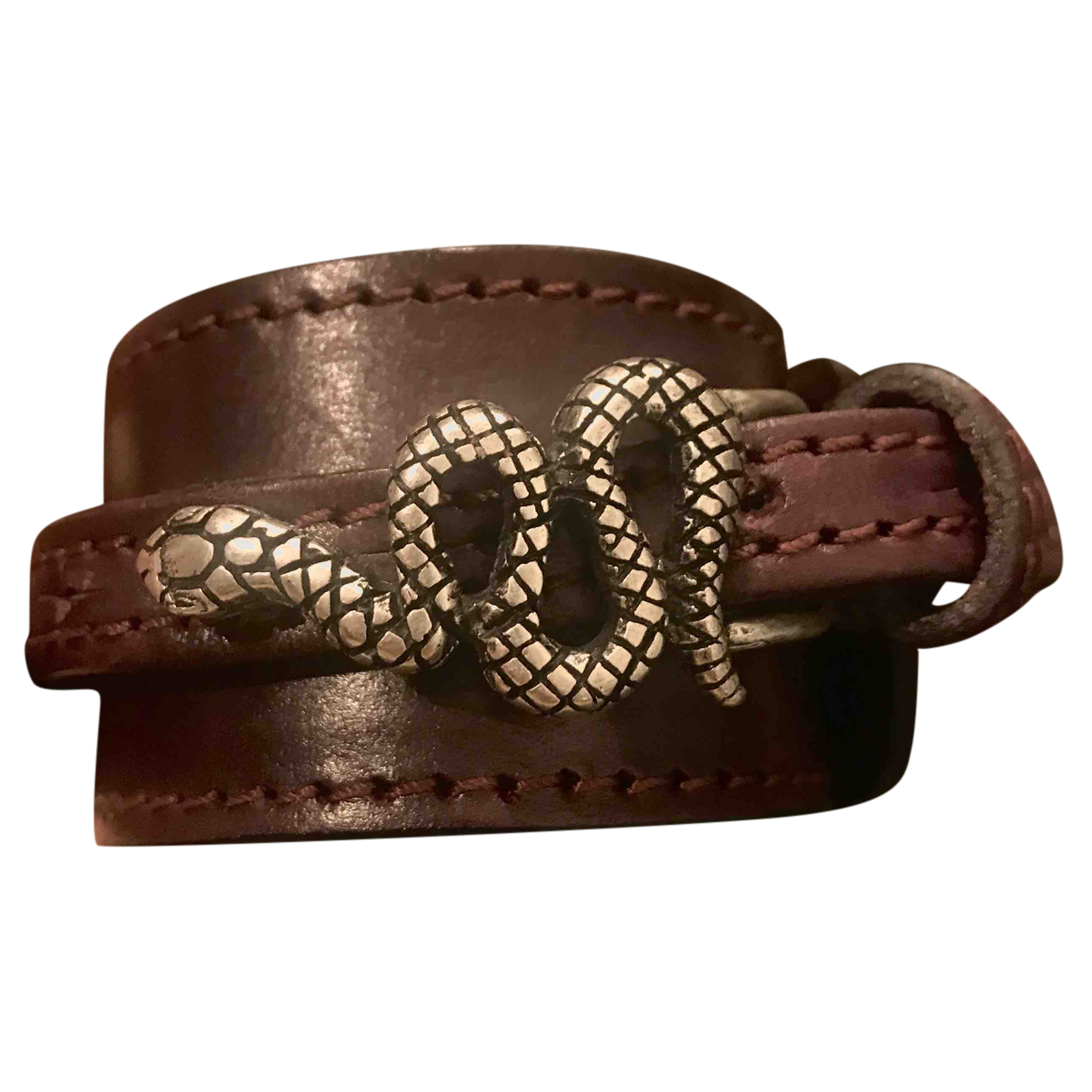 Non Signé / Unsigned Motifs Animaliers Burgundy Leather bracelet for Women N
