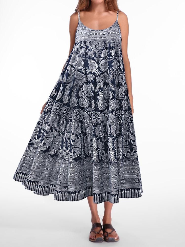 Bohemian Floral Print Spaghetti Straps Plus Size Maxi Dress