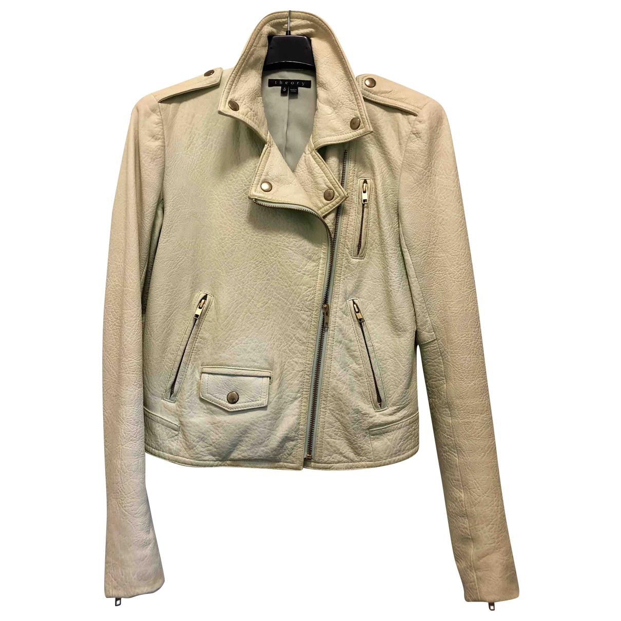 Theory \N Green Leather Leather jacket for Women 38 FR