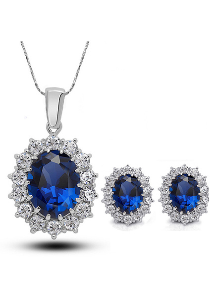 Milanoo Wedding Jewelry Set Rhinestone Blue Pendant Necklace With Pierced Ear Stud