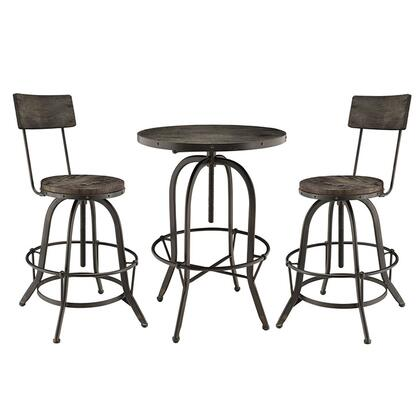 Gather Collection EEI-1604-BLK-SET 3 Piece Bar Dining Set with Adjustable Height  Tapered Legs  Footrest Support  Round Shaped Table  Solid Pine Wood