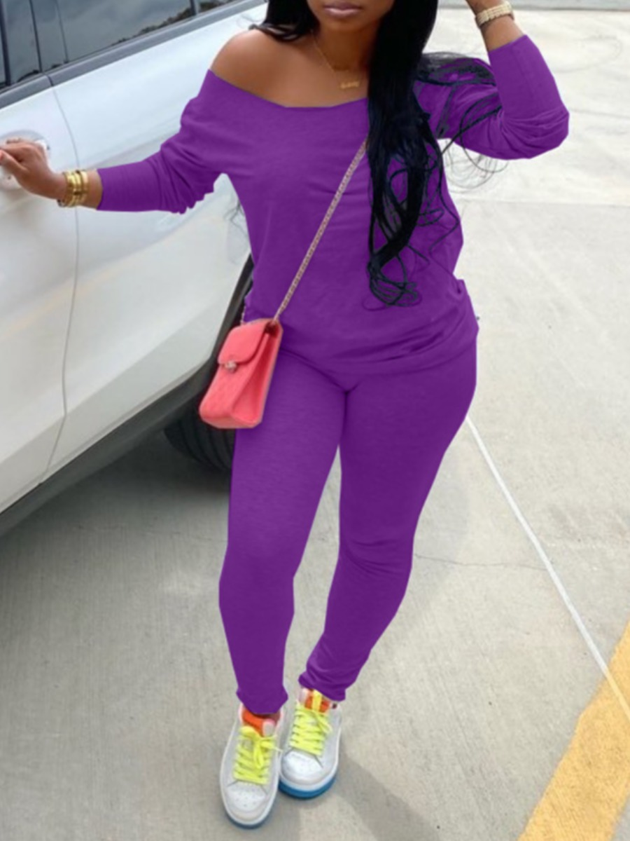 LW lovely Casual Basic Skinny Purple Two Piece Pants Set