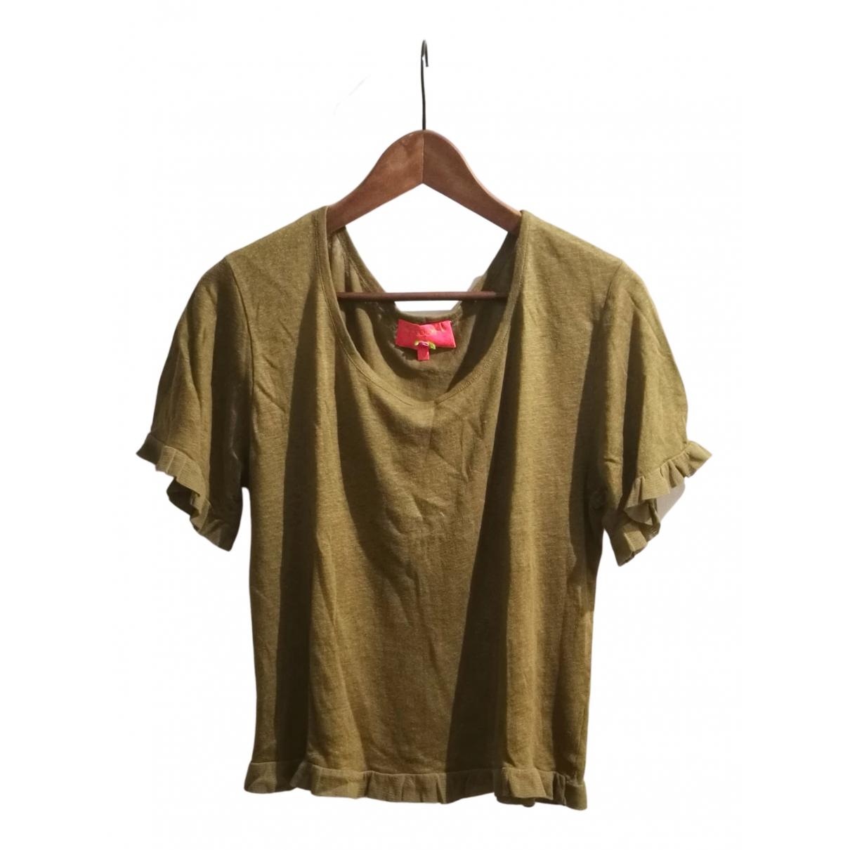 Manoush N Khaki Linen  top for Women 36 FR