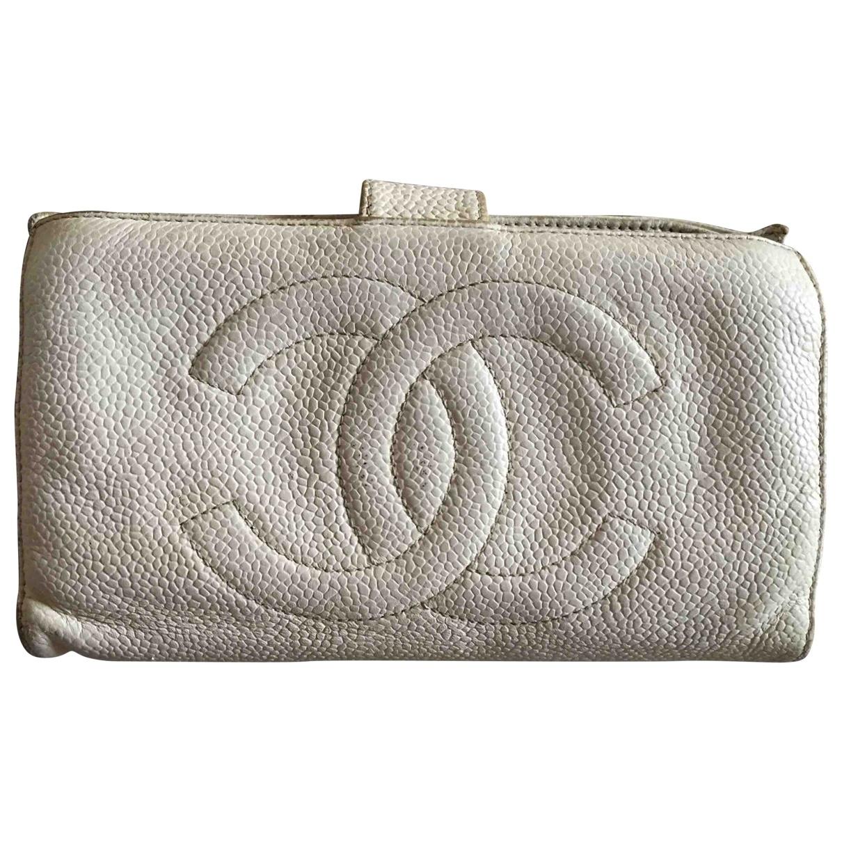 Chanel - Portefeuille   pour femme en cuir - blanc