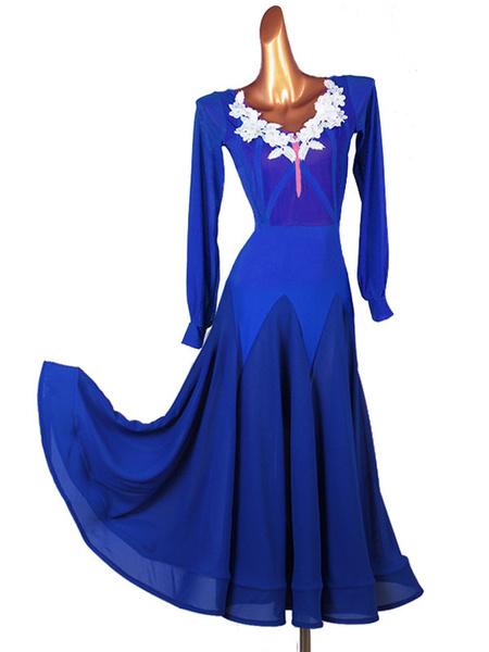 Milanoo Vestido de baile de salon Disfraces Vestido de licra y licra azul real para mujer