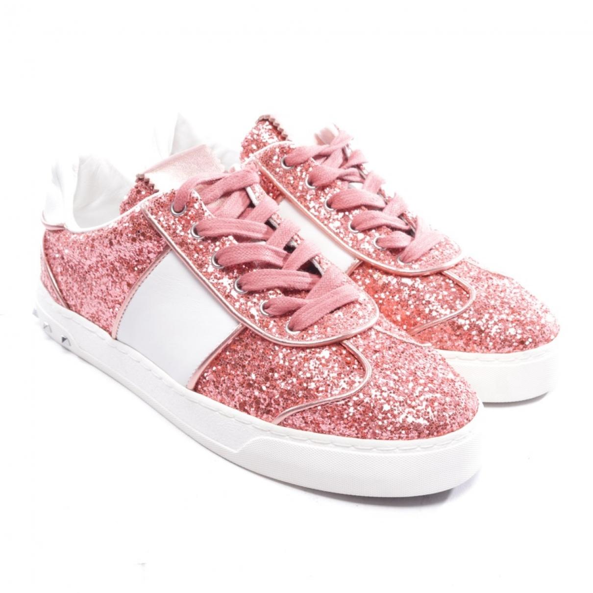 Valentino Garavani - Baskets   pour femme en a paillettes - rose