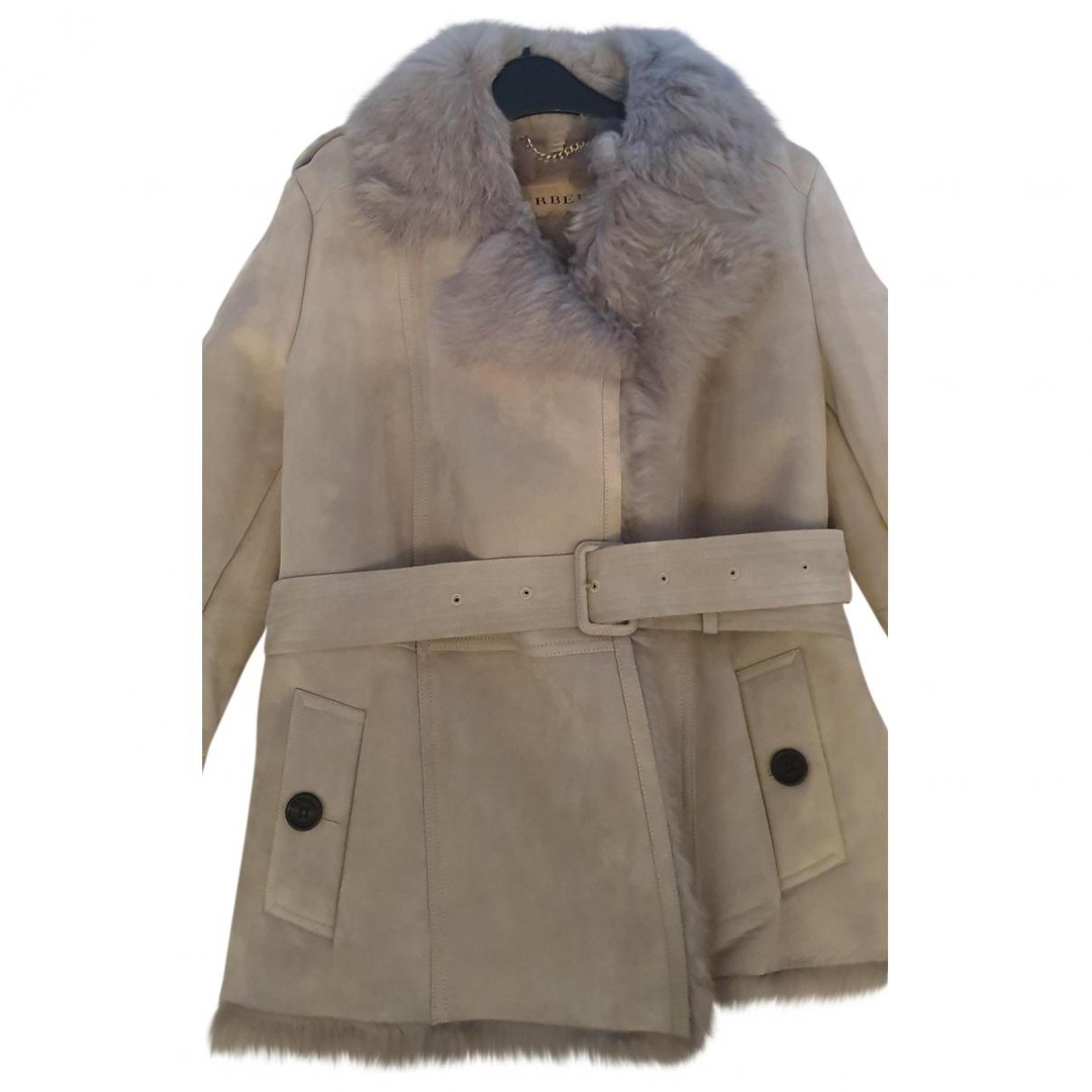 Burberry - Manteau   pour femme en mouton - beige