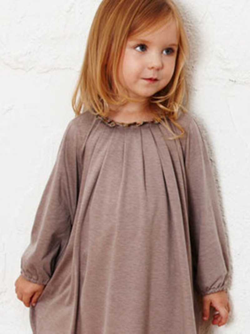 Ericdress Plain Round Neck Long Sleeve Girl's Dress