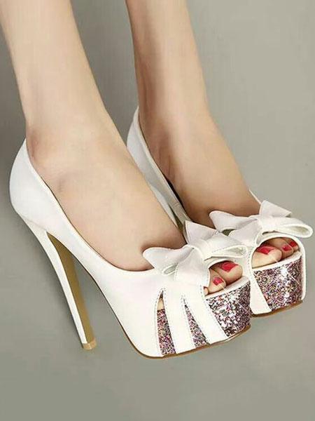 Milanoo Zapatos Peep toe de PU estilo modernode dos tonos de tacon de stiletto para mujer