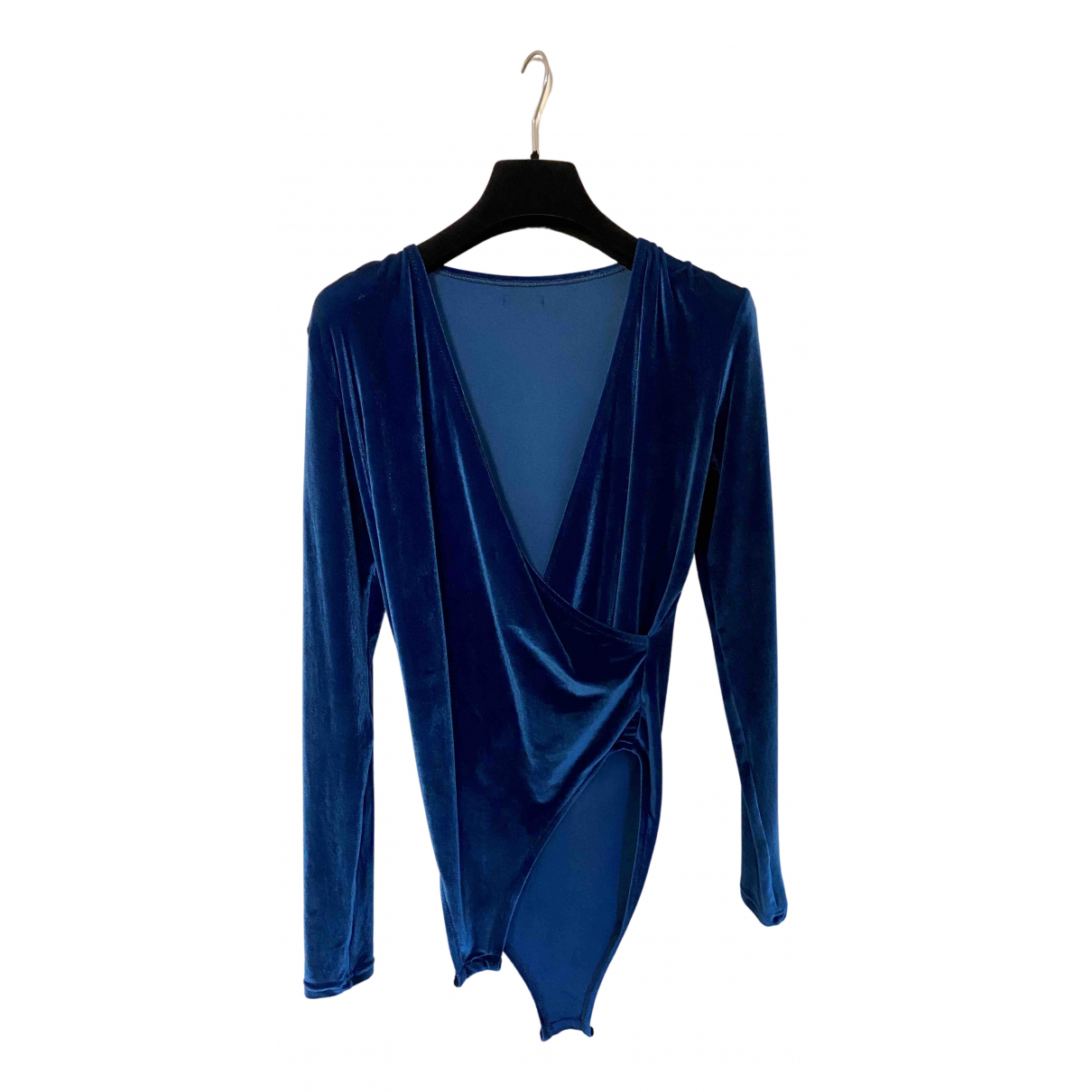 Mimi A La Mer - Top   pour femme en velours - bleu