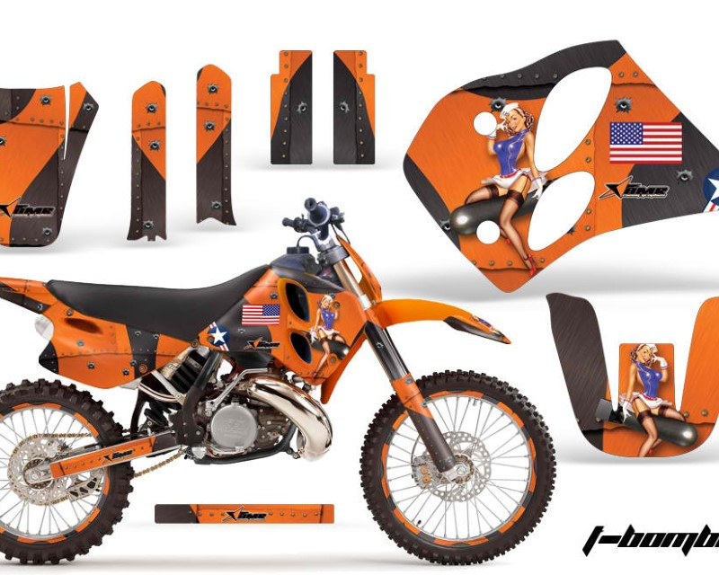AMR Racing Graphics MX-NPKTM-C6-93-97-TB O Kit Decal Sticker Wrap + # Plates For KTM SX/XC/EXC/LC2 1993-1997áTBOMBER ORANGE