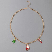 Halskette mit Weihnachtsmann & Baum Anhaenger