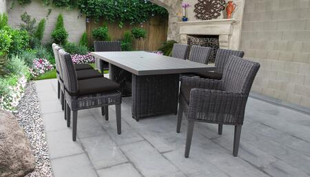 Venice Collection VENICE-DTREC-KIT-6ADC2DCC-BLACK Patio Dining Set With 1 Table  6 Side Chairs  2 Arm Chairs - Wheat and Black