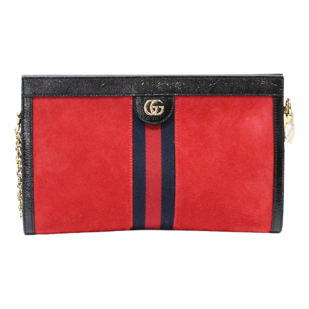 Gucci Ophidia Clutch in  Rot Veloursleder