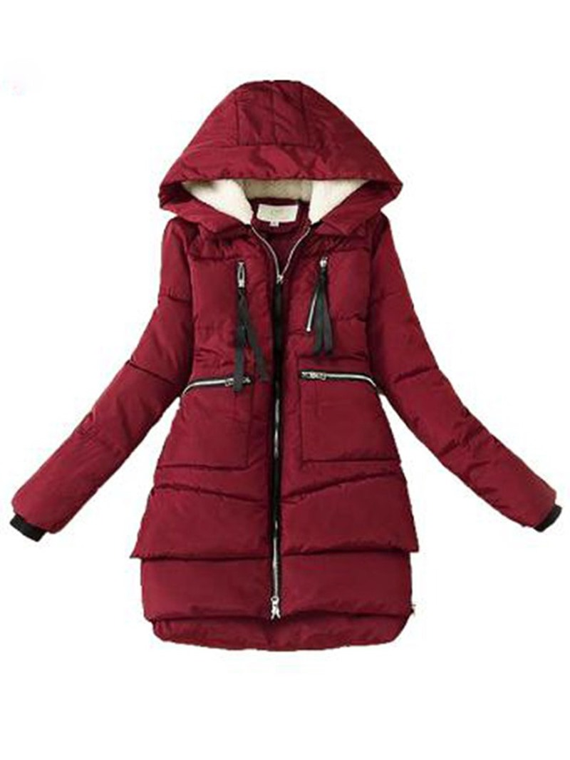 Ericdress Thick Zipper A Line Mid-Length Cotton Padded Womens Jacket