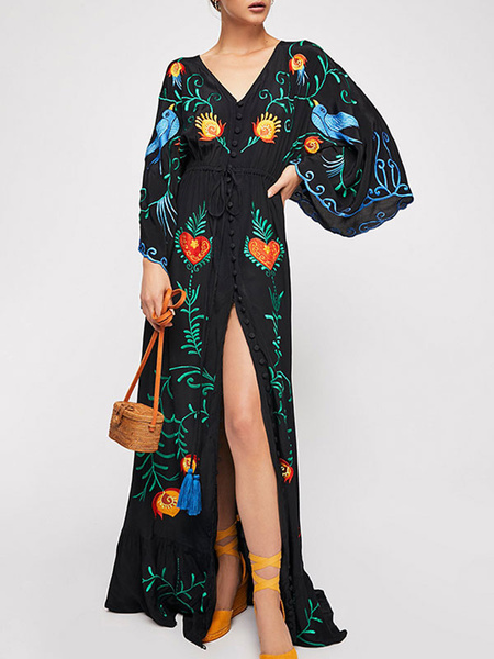 Milanoo Boho Dress Embroidered Sleeves Beach Dress