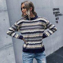 Wave Stripe Ribbed Knit Sweater
