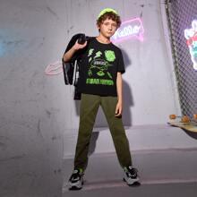 Conjunto camiseta con estampado de letra con pantalones